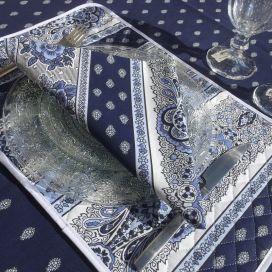 """Set de table en coton matelassé """"Bastide"""" Bleu et blanc """"Marat d'Avignon"""""""