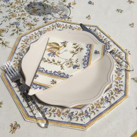 """Octogonal quilted placemats """"Moustiers"""" ecru and blue, by Tissus Toselli"""
