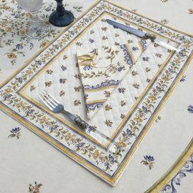 """Set de table matelassé cadré """"Moustiers"""" écru et bleu, Marat d'Avignon"""