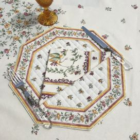 """Octogonal quilted placemats """"Moustiers"""" ecru and pink, by Tissus Toselli"""