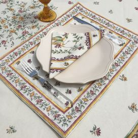"""Bordered quilted placemats """"Moustiers"""" ecru and rose, by Tissus Toselli"""