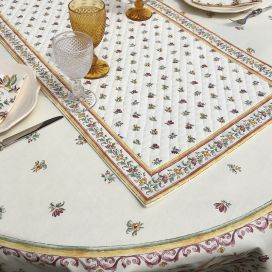 """Quilted cotton table runner """"Moustiers"""" ecru and pink by Tissus Toselli"""