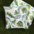 "Outdoor cushions ""Botanique"" ecru and green"