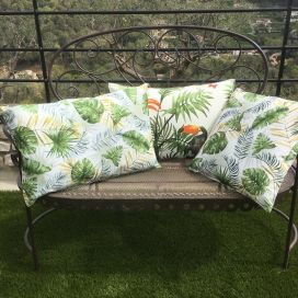 """Outdoor cushions """"Botanique"""" ecru and green"""