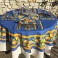 """Nappe ronde en coton """"Citrons""""  jaune et bleu TISSUS TOSELLI"""
