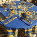 """Nappe ronde en coton """"Citrons""""  jaune et bleu"""