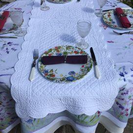 """Chemin de table en Boutis """"Rosace"""" blanc, Sud-Etoffe"""