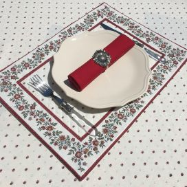 """Bordered quilted placemats """"Calisson"""" ecru and red, by Tissus Toselli"""
