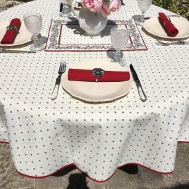 """Round tablecloth in cotton """"Calisson"""" ecru and red by TISSUS TOSELLI"""