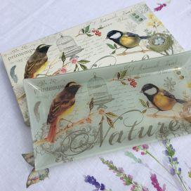 "Fine quality glass rectangular plate ""Les Oiseaux"""