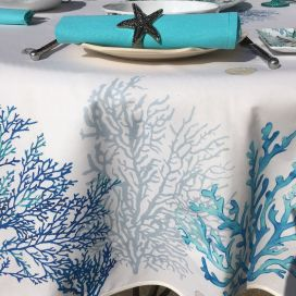 """Rectangular tablecloth in coated cotton """"Lagon"""" blue and turquoise by Tissus Toselli"""