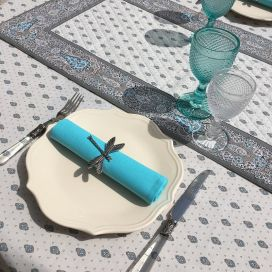 """Quilted cotton table runner """"Bastide"""" grey and turquoise by Marat d'Avignon"""
