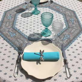 """Octogonal quilted cotton table cover """"Bastide"""" grey and turquoise"""