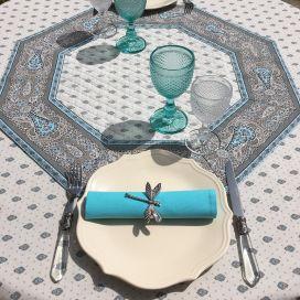 """Tapis de table octogonal en coton matelassé """"Bastide"""" gris et turquoise"""