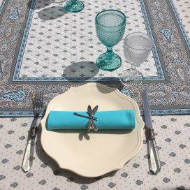 """Quilted cotton table cover """"Bastide"""" grey and turquoise"""