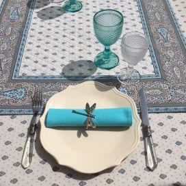 """Tapis de table en coton matelassé """"Bastide"""" gris et turquoise"""