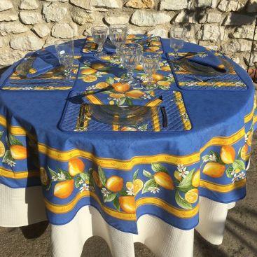 """Nappe ronde en coton enduit """"Citrons"""" jaune et bleu"""