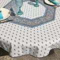 """Nappe provençale ronde en coton """"Bastide"""" Grise et turquoise"""