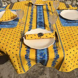 """Nappe provençale ronde en coton """"Tradition"""" Jaune et Bleue """"Marat d'Avignon"""""""