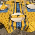"""Round tablecloth in cotton """"Tradition"""" Yellow and blue """"Marat d'Avignon"""""""
