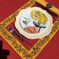 """Bordered quilted placemats """"Calisson"""" red and yellow, by Tissus Toselli"""