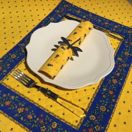 """Bordered quilted placemats """"Calisson"""" yellow and blue, by Tissus Toselli"""
