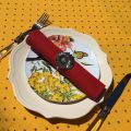 """Round tablecloth in cotton """"Calisson"""" yellow and red by TISSUS TOSELLI"""