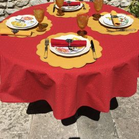 """Round tablecloth in cotton """"Calisson"""" red and yellow by TISSUS TOSELLI"""