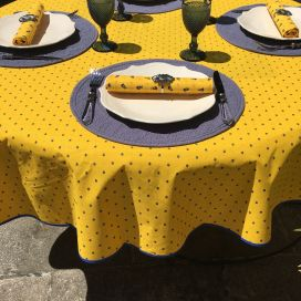 """Round tablecloth in cotton """"Calisson"""" yellow and blue by TISSUS TOSELLI"""
