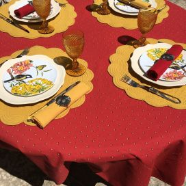 """Coated cotton round tablecloth """"Calisson"""" red and yellow by Tissus Toselli"""