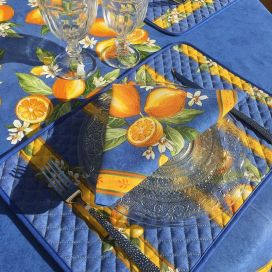 """Set de Table en  coton  matelassé  """"Citrons"""" Jaune et bleu"""