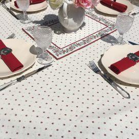 """Nappe provençale rectangulaire en coton """"Calissons"""" écru et rouge Tissus Toselli"""