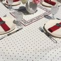 """Rectangular provence cotton tablecloth """"Calissons"""" ecru and red by Tissus Toselli in Nice"""