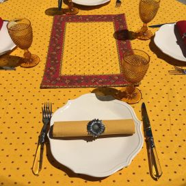 """Rectangular provence cotton tablecloth """"Calissons"""" yellow and red by Tissus Toselli in Nice"""