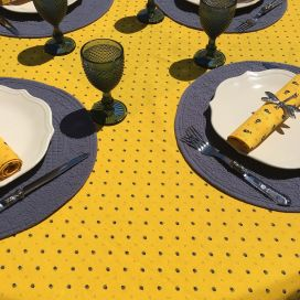 """Nappe provençale rectangulaire en coton """"Calissons"""" jaune et bleu Tissus Toselli"""