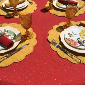 """Rectangular provence cotton tablecloth """"Calissons"""" red and yellow by Tissus Toselli in Nice"""