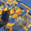 "Quilted cotton placemat ""Citrons"" yellow and blue"