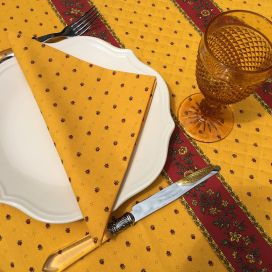 """Serviette en coton """"Calissons"""" jaune et rouge"""