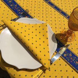 """Serviette en coton """"Calissons"""" jaune et bleu"""