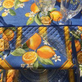 """Serviette en coton """"Citrons"""" jaune et bleu"""