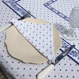 """Cotton napkins """"Calissons"""" white and blue"""