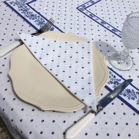"""Serviette en coton """"Calissons"""" blanc et bleu"""