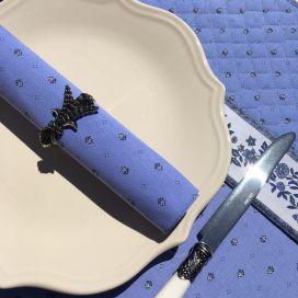"""Serviette en coton """"Calissons"""" bleu lavande et écru"""