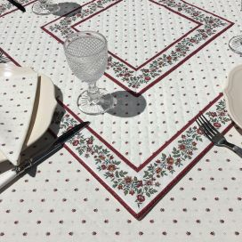 """Quilted cotton table cover """"Calissons"""" ecru and red"""