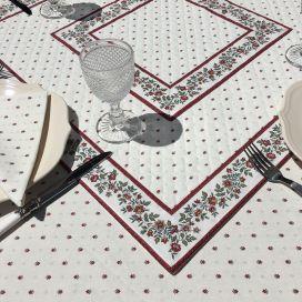 """Tapis de table en coton matelassé """"Calissons"""" écru et rouge"""