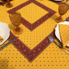 """Quilted cotton table cover """"Calissons"""" yellow and red"""