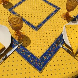 """Quilted cotton table cover """"Calissons"""" yellow and blue"""