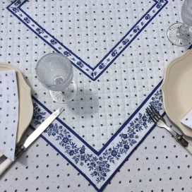 """Quilted cotton table cover """"Calissons"""" white and blue"""
