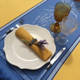 """Rectangular Jacquard tablecloth """"Grignan"""" blue and yellow color, by TISSUS TOSELLI, Nice"""