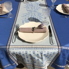 """Rectangular Jacquard tablecloth """"Grignan"""" blue  color, by TISSUS TOSELLI, Nice"""
